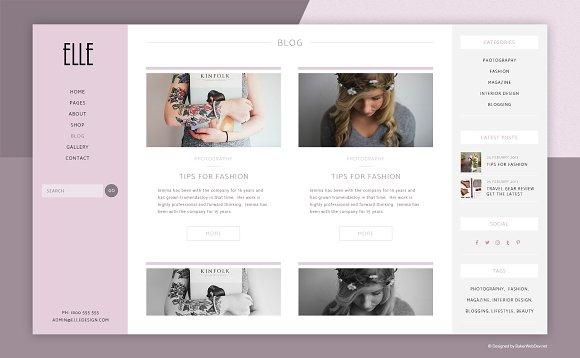 428c833566 Elle Fashion Shop & Blog Website PSD ~ Website Templates ~ Creative Market