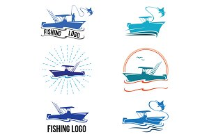 6 - Fishing Logo with Fisherman Boat