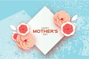 Happy Mother's Day Greeting card. Red orange cut Flower. Rhombus Frame. Space for text.