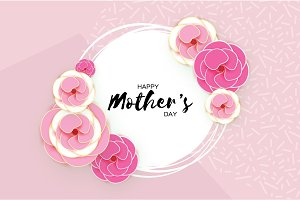 Happy Mother's Day Greeting card. Pink Pastel Paper cut Flower. Circle Frame. Space for text.