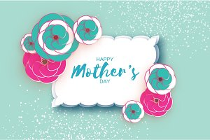 Happy Mother's Day Greeting card. Pink Blue Paper cut Flower. Rectangle wave Frame. Space for text.
