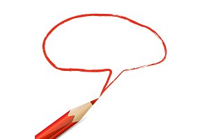 Red speech bubble drawn with pencil