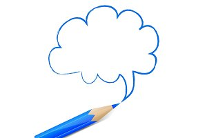 Blue speech bubble drawn with pencil