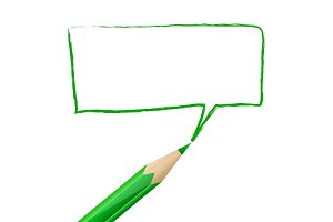 Green speech bubble drawn with pencil