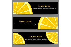 Set of banners with oranges