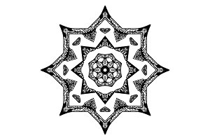 Black star pattern with hand-drawn elements