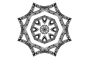 Black star pattern, hand-drawn design