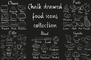 Food & drinks chalk collection.