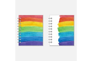 Notebook cover design with rainbow