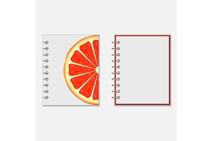 Notebook cover design with bright grapefruit