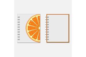 Notebook cover design with bright orange