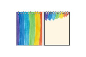 Notebook cover and page design with rainbow