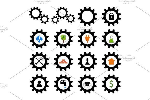 Set Of Gear Wheel Logos