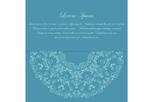 Blue card design with ornate pattern