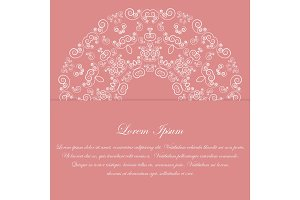 Pink card design with ornate pattern