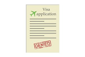 Visa application  with denied stamp