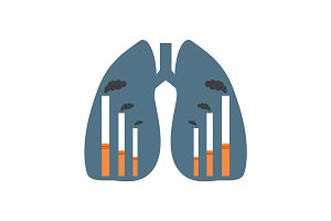 Lungs with smoking factories