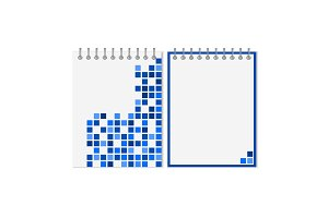 Spiral notebook with blue geometric pattern