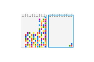 Spiral notebook with colorful geometric pattern