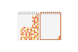 Spiral notebook with orange geometric pattern
