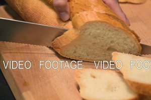 Cutting white bread