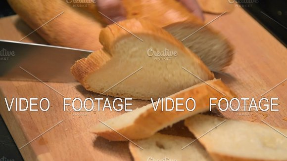 Timelapse Of Cutting White Bread