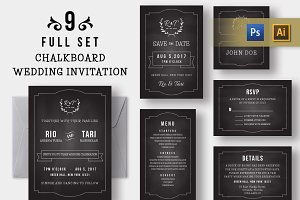 Chalkboard Wedding Invitation Set