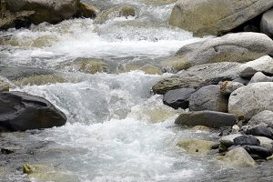 water in a river with rocks
