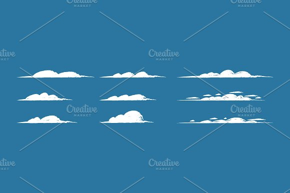 Clouds Hand Drawn Clouds Set