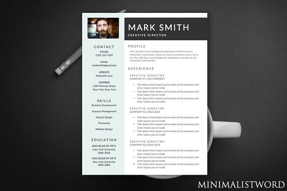 Blue Banner Resume Template Ms Word Resume Templates Creative