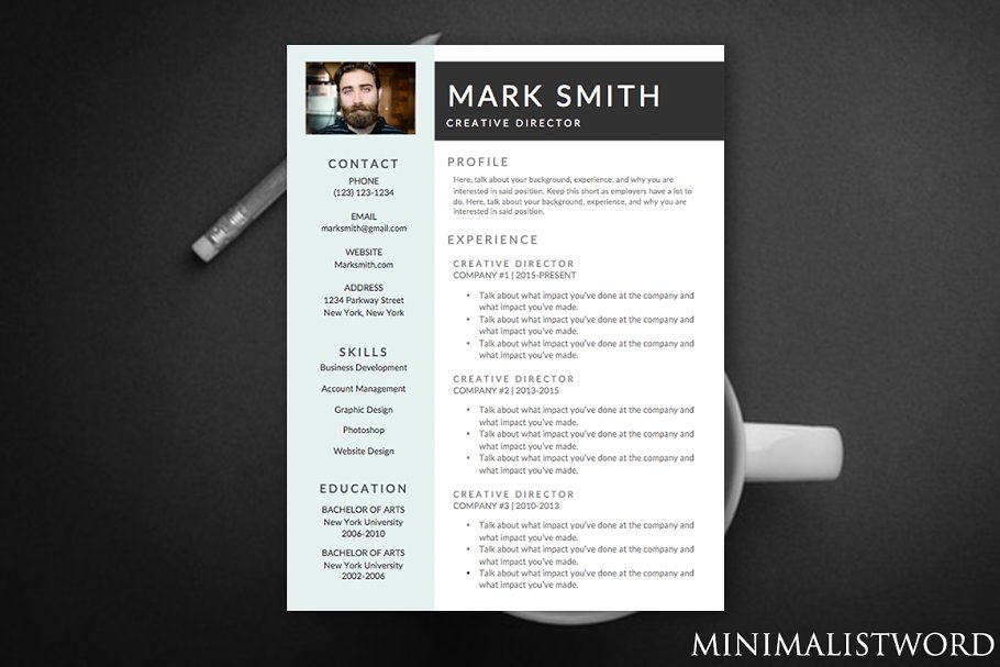 Blue Banner Resume Template- MS Word