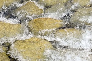 Water flowing in a rocky river