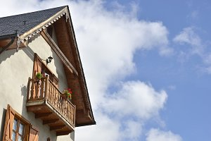 Wooden balcony, Lleida, Spain