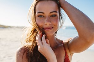 Sensual young woman posing
