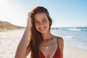 Charming young woman in bikini