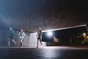 Group of runners training