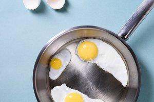 Fried eggs for breakfast.