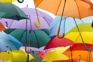 Multi colored open umbrellas