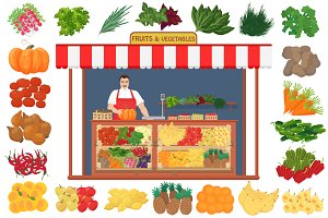 Fruits & vegetables set + Store.