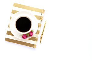 Styled stock photo - coffee&notebook