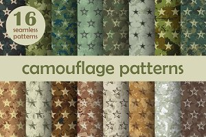 Seamless starry camouflage patterns