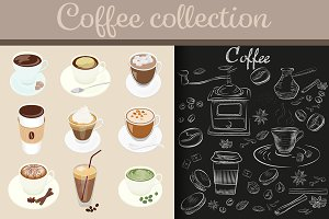 Coffee cups set + chalk style