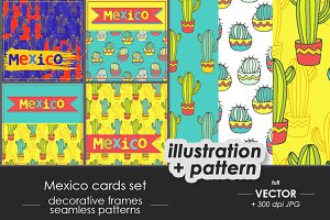 Mexico - cactuses card, patterns set