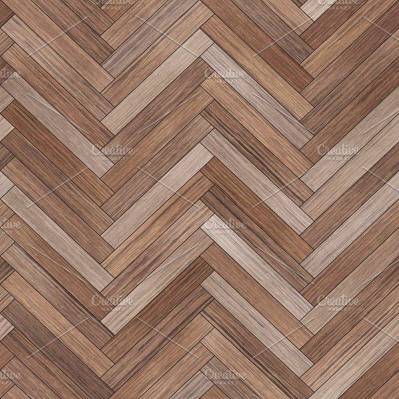 Seamless wood parquet texture (herringbone brown) in Textures
