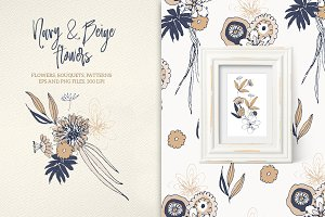 Navy and Beige Flowers