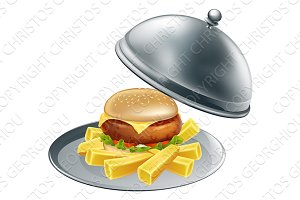Burger and chips on a silver platter
