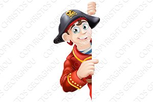 Cartoon pirate pointing