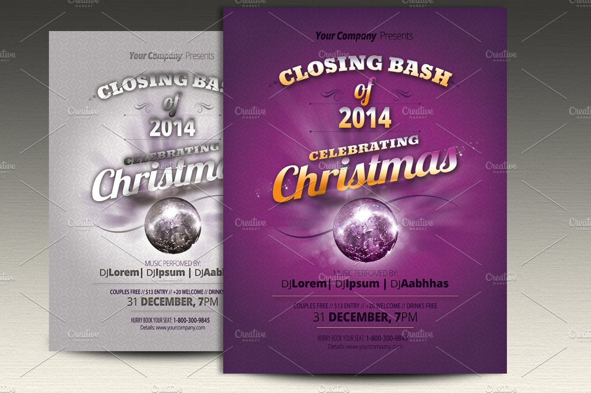 christmas flyer templates flyer templates on creative market