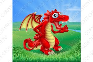 Cartoon Red Dragon Scene