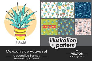 Mexican blue agave cactus set
